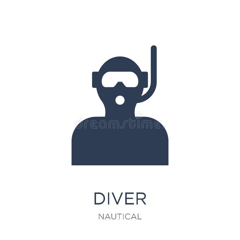 Icona dell'operatore subacqueo Icona piana d'avanguardia dell'operatore subacqueo di vettore su fondo bianco franco illustrazione vettoriale