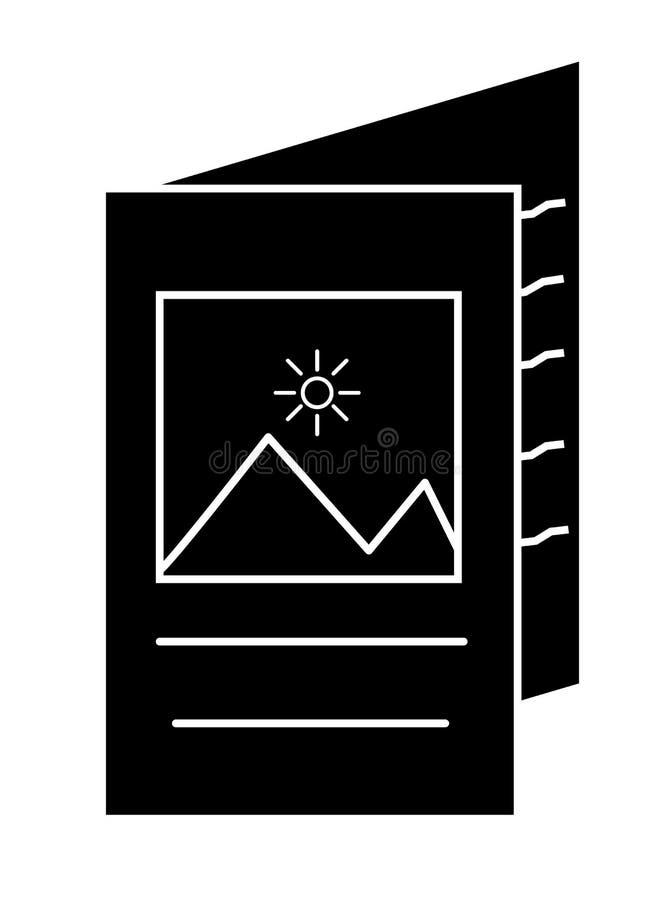 Icona dell'opuscolo nello stile piano d'avanguardia su fondo bianco opuscolo illustrazione di stock