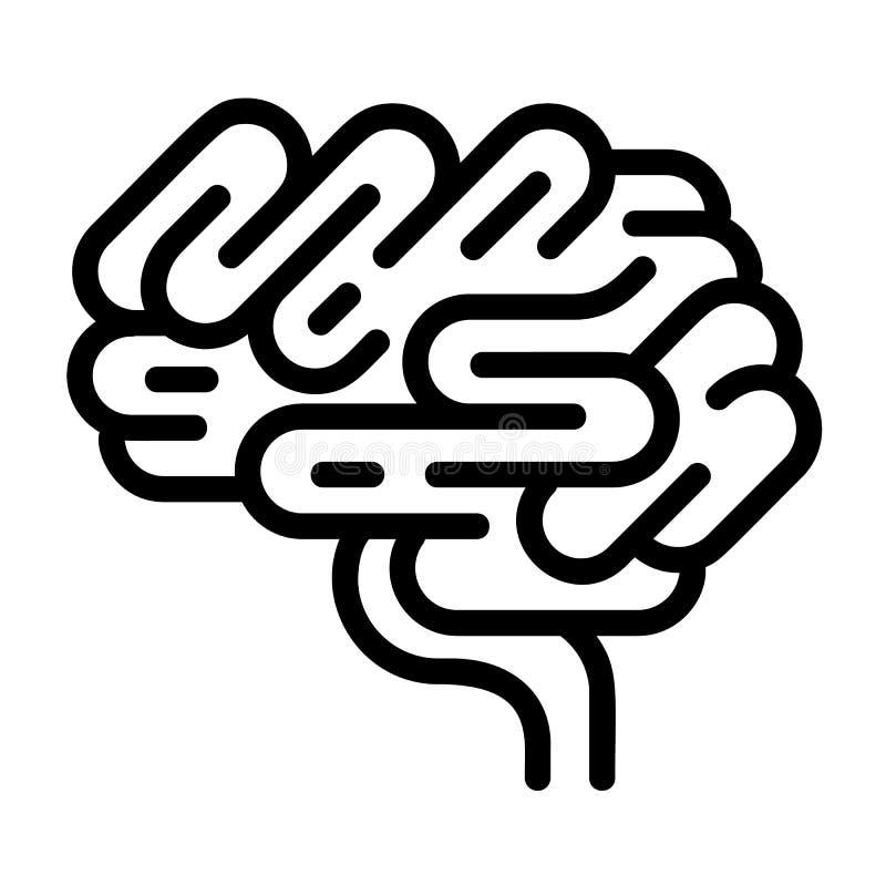 Icona dell'organo del cervello, stile del profilo illustrazione vettoriale