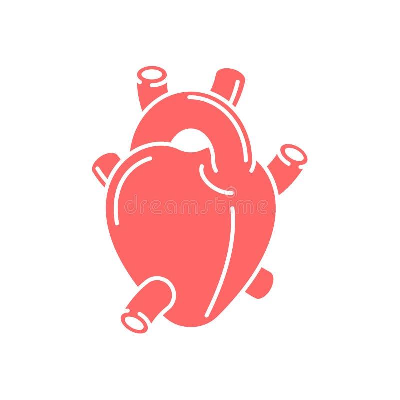 Icona dell'organo di anatomia del cuore isolata Illustrazione di vettore illustrazione di stock