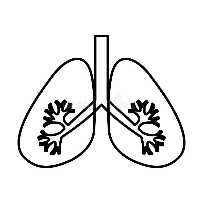 Icona dell'organo umano dei polmoni illustrazione di stock