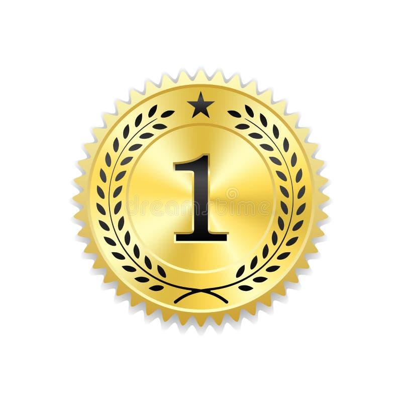 Icona dell'oro del premio della guarnizione Medaglia in bianco con la corona dell'alloro, fondo bianco isolato Emblema dorato di  royalty illustrazione gratis
