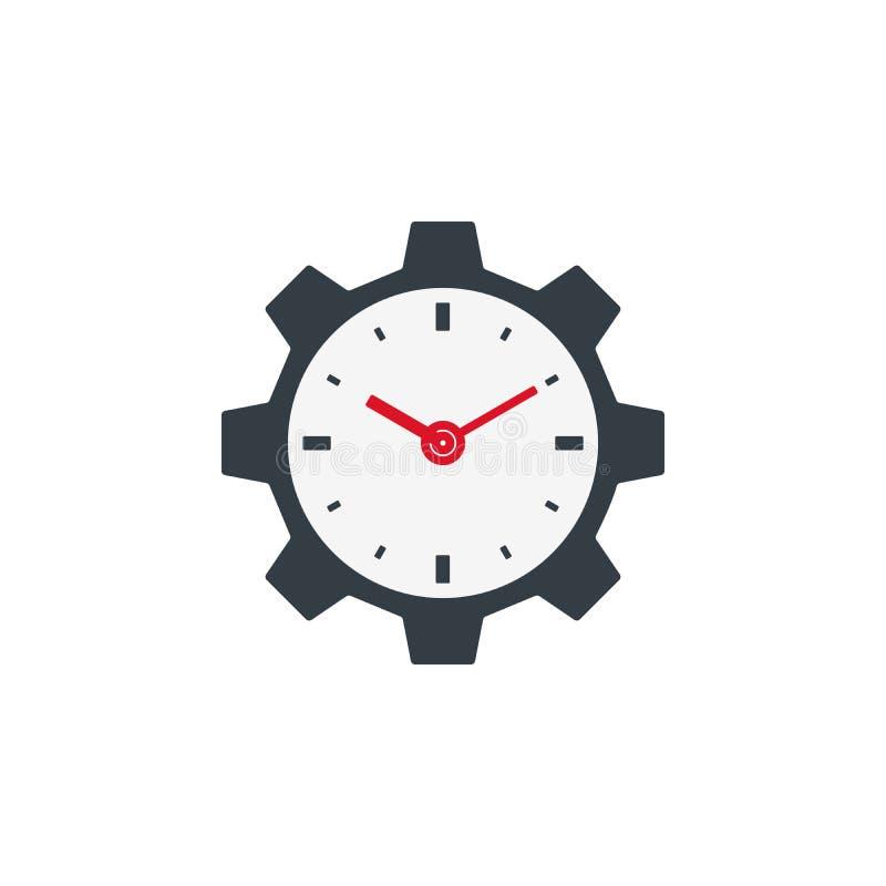 Icona dell'orologio con l'ingranaggio illustrazione vettoriale