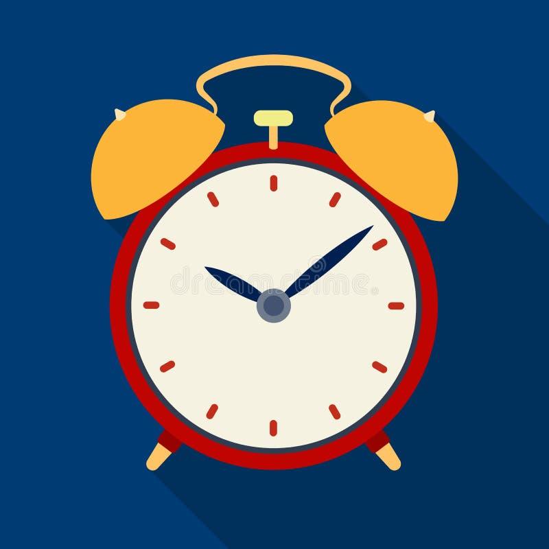 Icona dell'orologio del lato del letto nello stile piano isolata su fondo bianco Illustrazione di vettore delle azione di simbolo illustrazione vettoriale