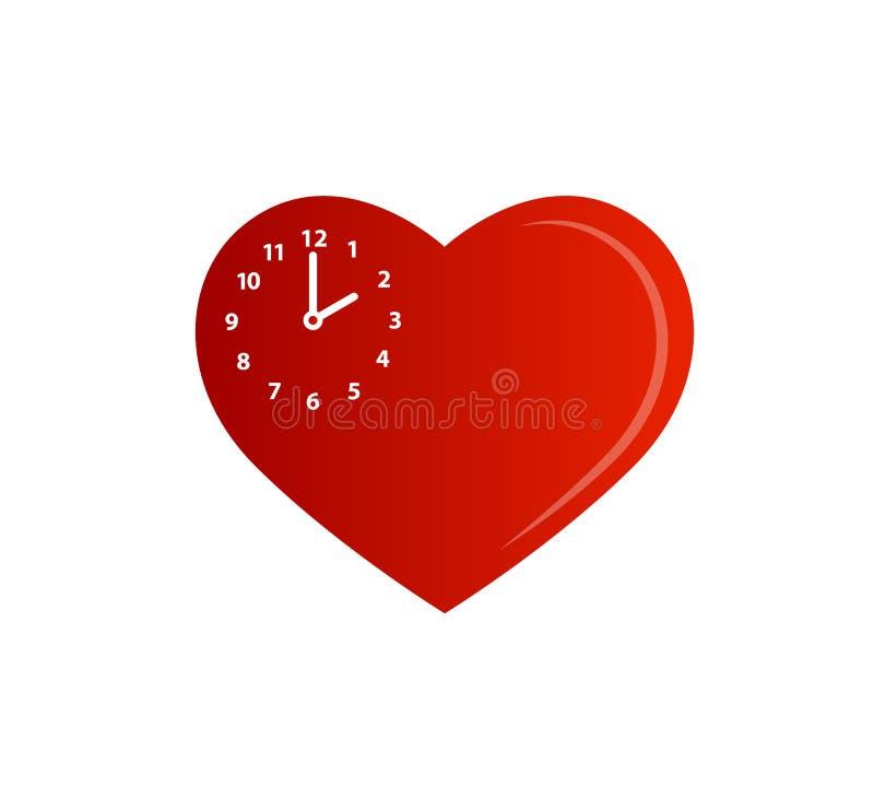 Icona dell'orologio di forma del cuore, illustrazione dell'orologio di vettore di tempo, simbolo di tempo, segno della sveglia Or royalty illustrazione gratis