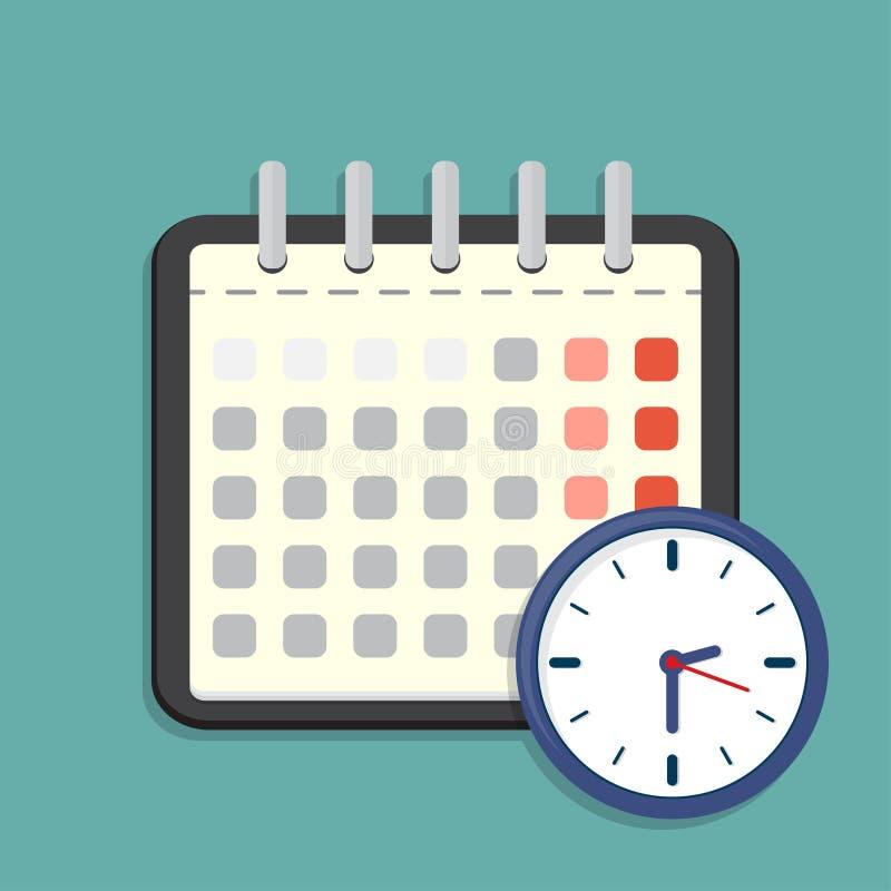 Icona dell'orologio e del calendario Programma, appuntamento Illustrazione di vettore illustrazione vettoriale