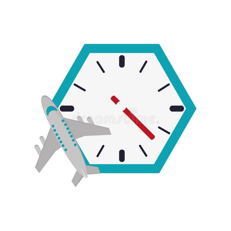 Icona dell'orologio e dell'aeroplano di parete royalty illustrazione gratis