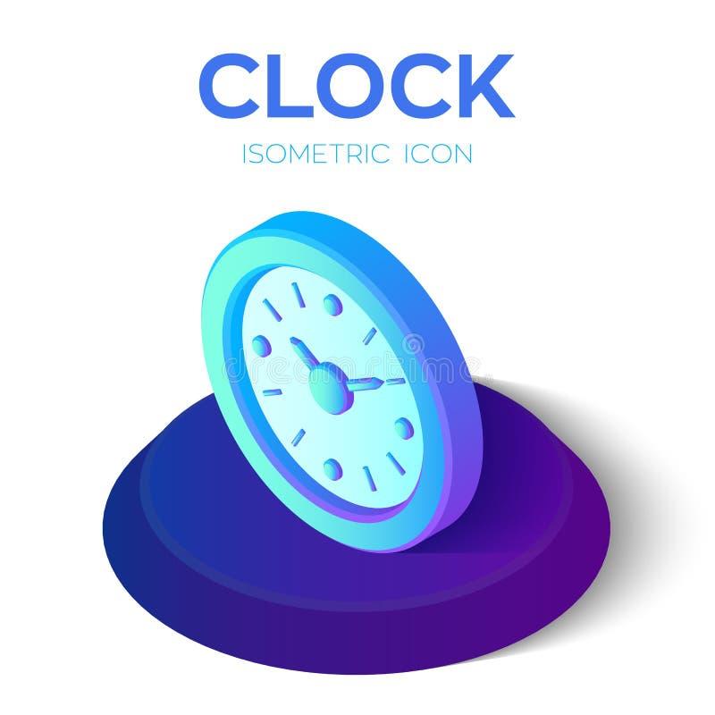 Icona dell'orologio segno isometrico dell'orologio 3D simbolo di tempo Creato per il cellulare, web, decorazione, prodotti della  illustrazione vettoriale