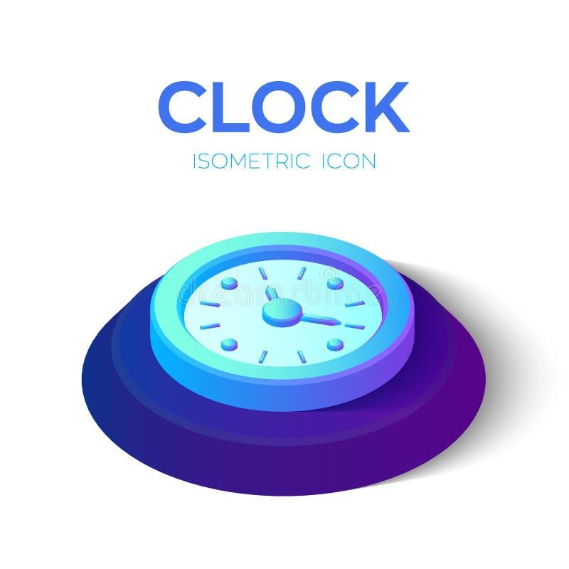 Icona dell'orologio segno isometrico dell'orologio 3D simbolo di tempo Creato per il cellulare, web, decorazione, prodotti della  royalty illustrazione gratis