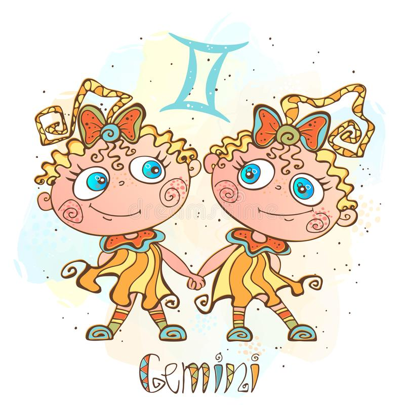Icona dell'oroscopo del ` s dei bambini Zodiaco per i bambini Segno dei Gemelli Vettore Simbolo astrologico come personaggio dei  illustrazione di stock