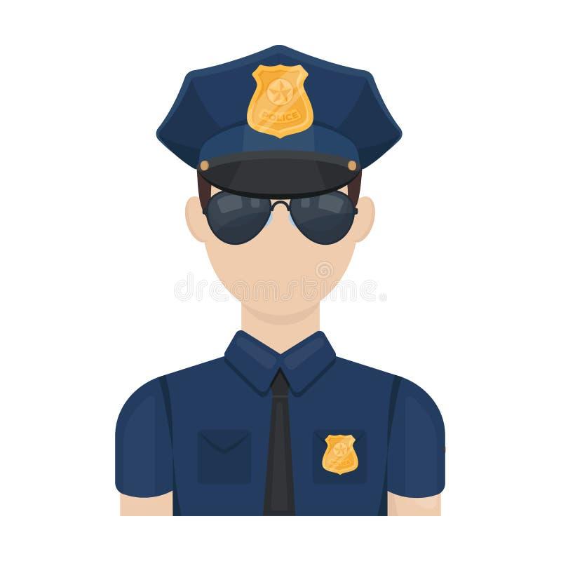 Icona dell'ufficiale di polizia nello stile del fumetto isolata su fondo bianco Simbolo della polizia illustrazione vettoriale