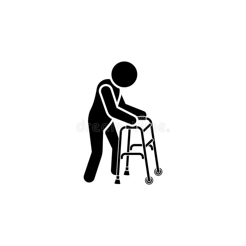 Icona dell'uomo anziano Equipaggi con l'icona delle grucce Corrimano della gruccia illustrazione di stock