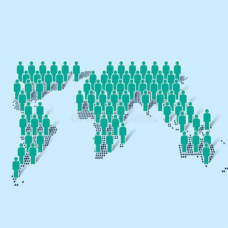 Icona dell'uomo d'affari che sta sulla mappa di mondo moderno su fondo blu illustrazione di stock