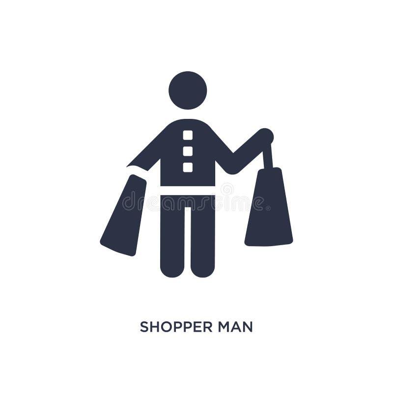 icona dell'uomo del cliente su fondo bianco Illustrazione semplice dell'elemento dal concetto di comportamento illustrazione di stock