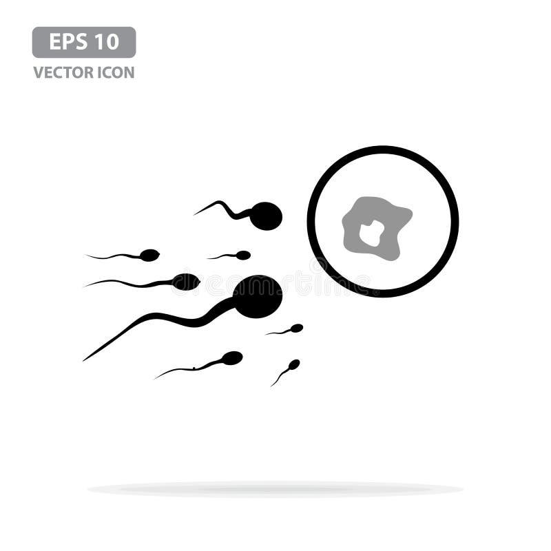 Icona dell'uovo e dello sperma, cellula di ovulo umano circondata dagli spermi Illustrazione di vettore royalty illustrazione gratis