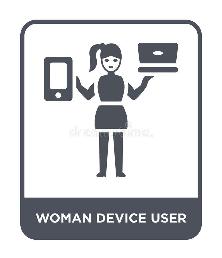 icona dell'utente del dispositivo della donna nello stile d'avanguardia di progettazione icona dell'utente del dispositivo della  royalty illustrazione gratis