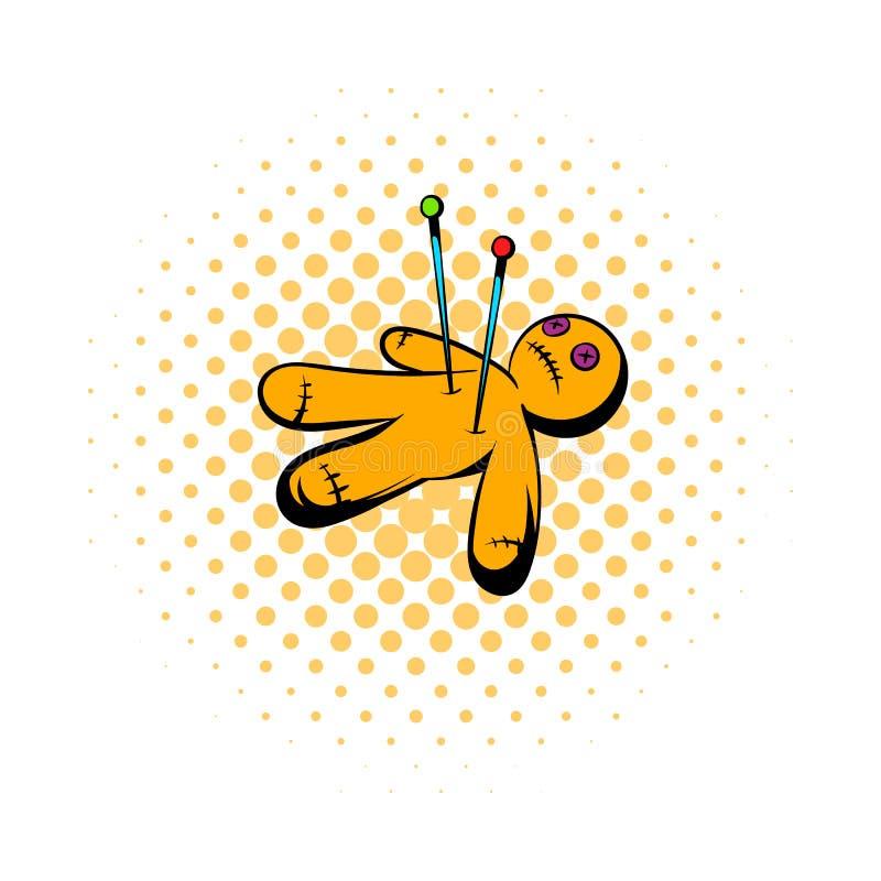 Icona della bambola di voodoo, stile dei fumetti royalty illustrazione gratis