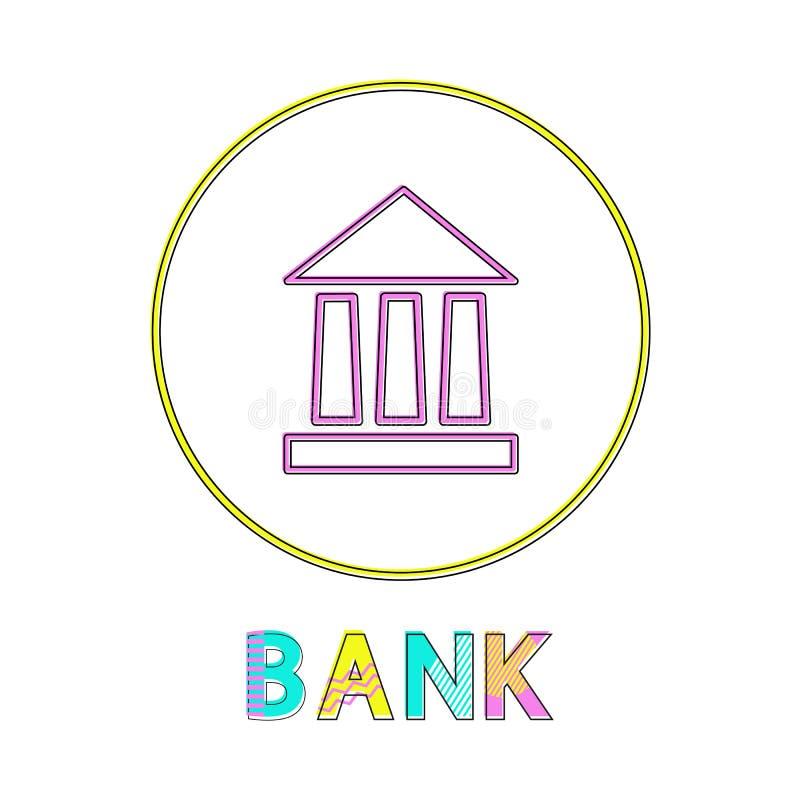 Icona della Banca con il manifesto giallo di colore della struttura del cerchio royalty illustrazione gratis