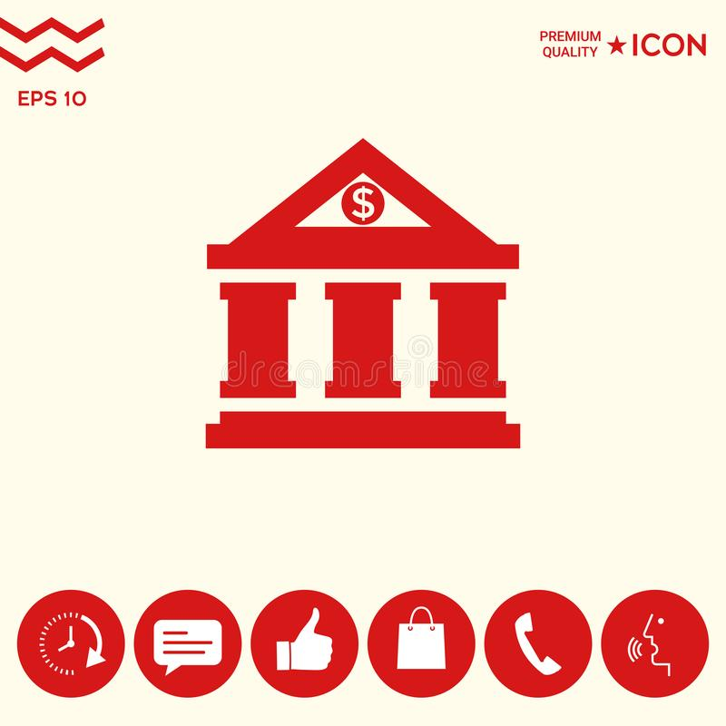 Download Icona Della Banca Con Il Simbolo Del Dollaro Illustrazione Vettoriale - Illustrazione di guadagnare, piano: 117982167