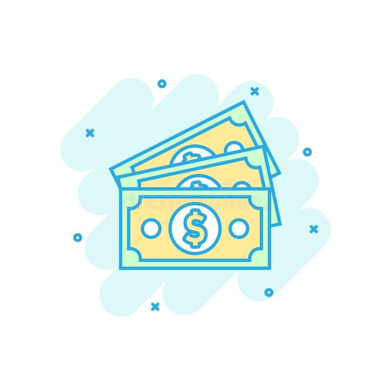 Icona della banconota di valuta del dollaro nello stile comico Pittogramma dell'illustrazione del fumetto di vettore dei contanti illustrazione di stock