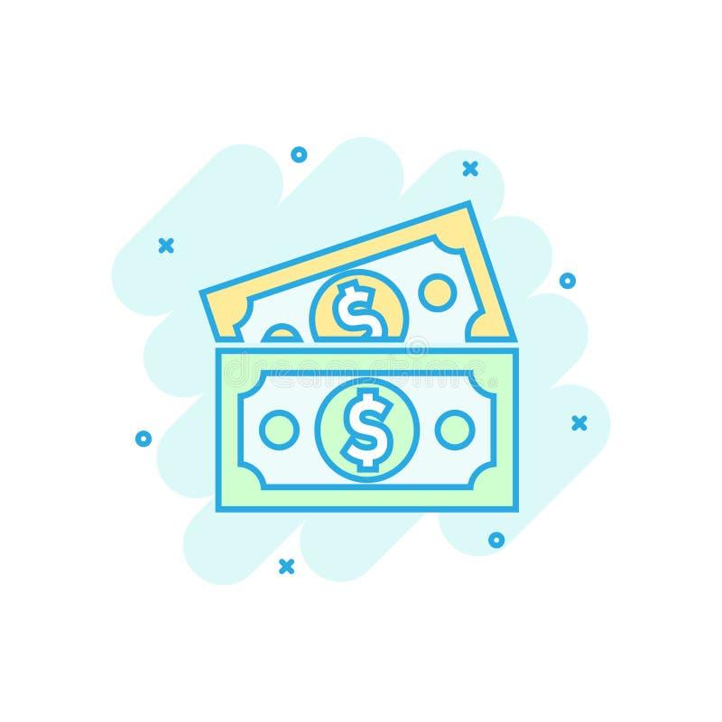 Icona della banconota di valuta del dollaro nello stile comico Pittogramma dell'illustrazione del fumetto di vettore dei contanti illustrazione vettoriale