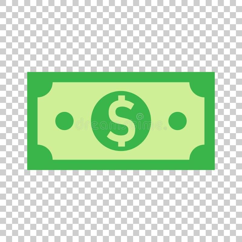 Icona della banconota di valuta del dollaro nello stile piano Vettore dei contanti del dollaro royalty illustrazione gratis