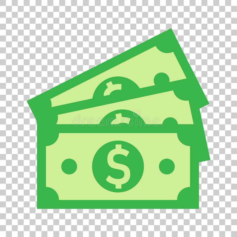 Icona della banconota di valuta del dollaro nello stile piano Vettore dei contanti del dollaro illustrazione di stock
