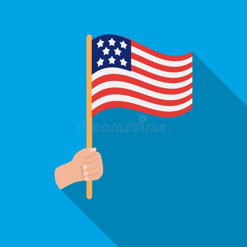 Icona della bandiera americana nello stile piano isolata su fondo bianco Illustrazione di vettore delle azione di simbolo di gior illustrazione di stock