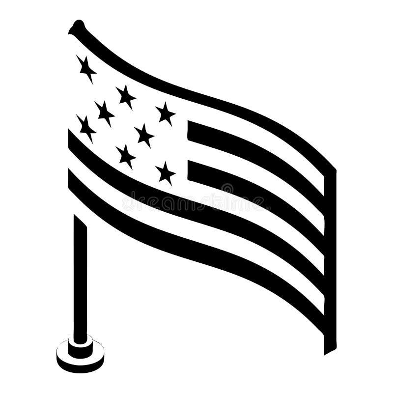 Icona della bandiera americana, stile semplice illustrazione di stock