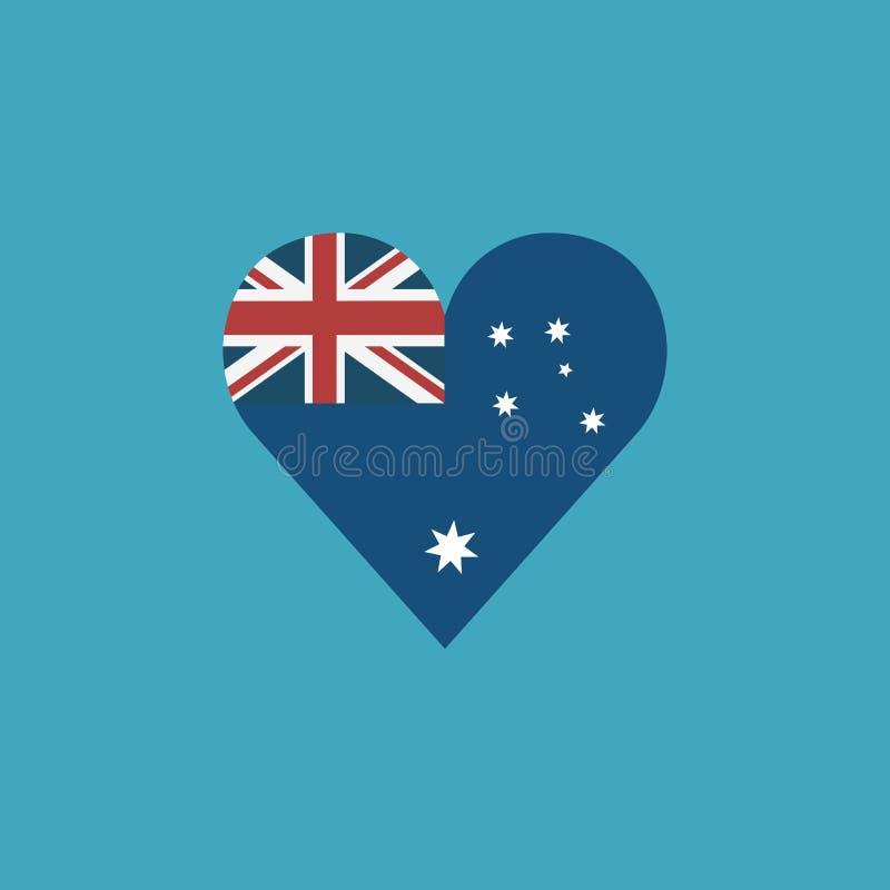 Icona della bandiera dell'Australia in una forma del cuore nella progettazione piana illustrazione di stock