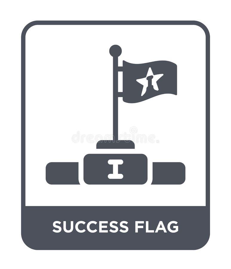 icona della bandiera di successo nello stile d'avanguardia di progettazione icona della bandiera di successo isolata su fondo bia illustrazione vettoriale