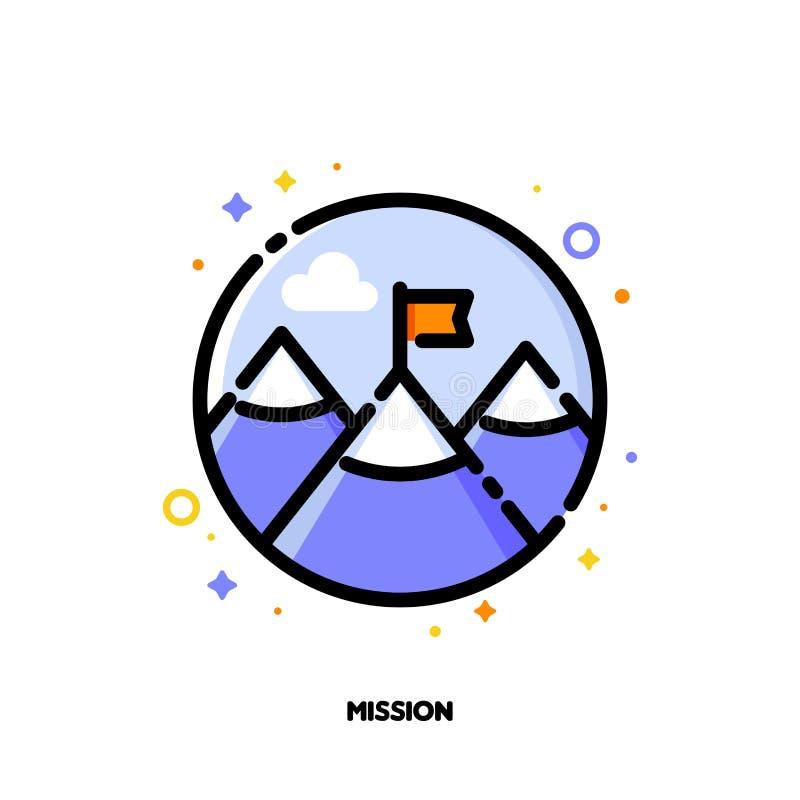 Icona della bandiera rossa sul picco di montagna per il concetto di missione di affari illustrazione vettoriale