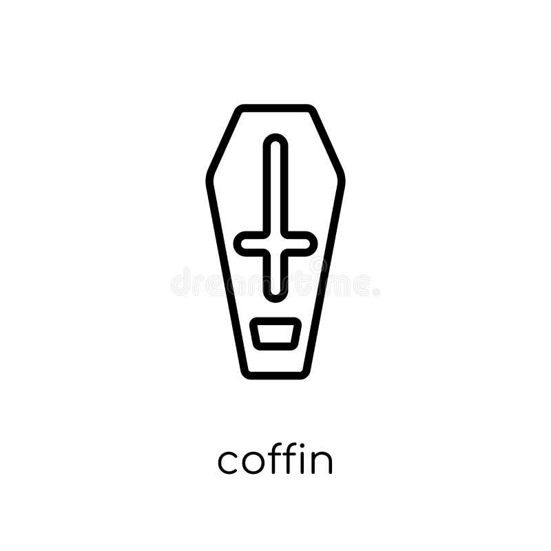Icona della bara Icona lineare piana moderna d'avanguardia della bara di vettore sul whi illustrazione di stock