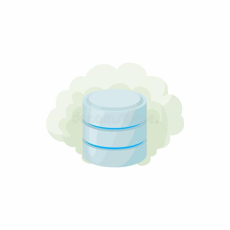 Icona della base di dati della nuvola, stile del fumetto illustrazione di stock