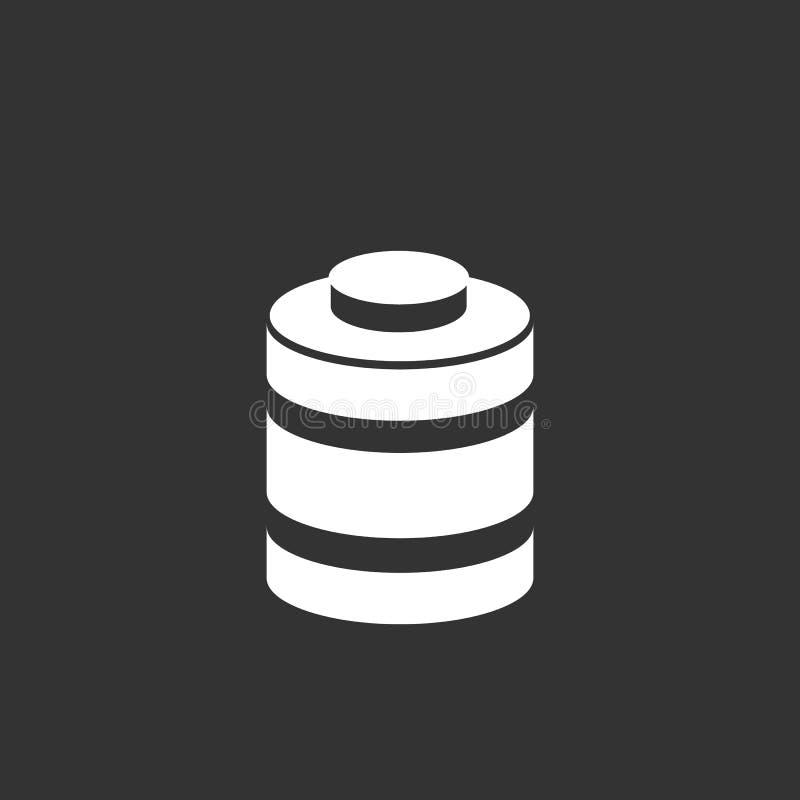 Icona della batteria isolata su un fondo nero fotografie stock libere da diritti