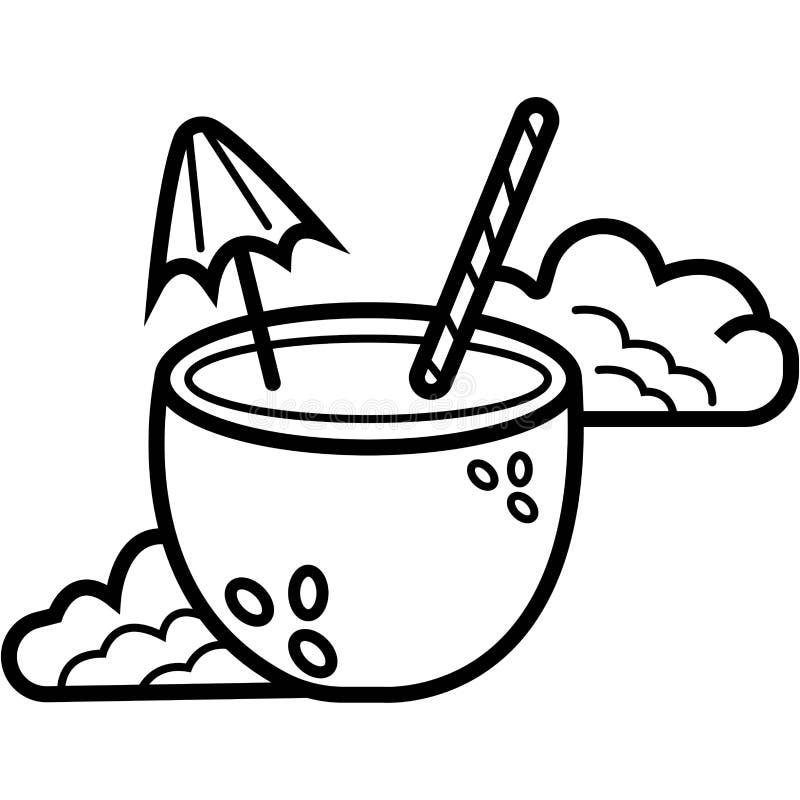 Icona della bevanda del cocktail della noce di cocco illustrazione vettoriale