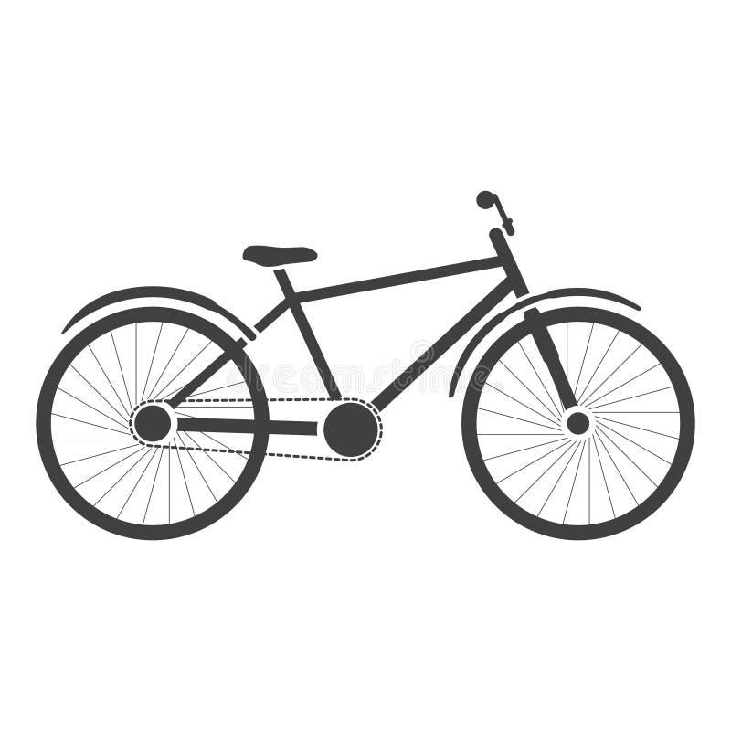 Icona della bicicletta Immagine parzialmente dettagliata Vettore su fondo bianco illustrazione di stock
