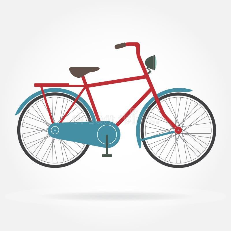 Icona della bicicletta su fondo bianco Retro immagine disegnata o d'annata della bicicletta Illustrazione variopinta di vettore illustrazione vettoriale