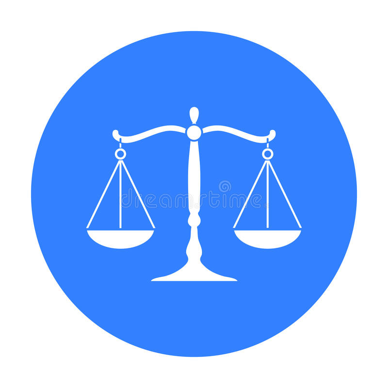 Icona della bilancia della giustizia nello stile nero isolata su fondo bianco Illustrazione di vettore delle azione di simbolo di illustrazione vettoriale