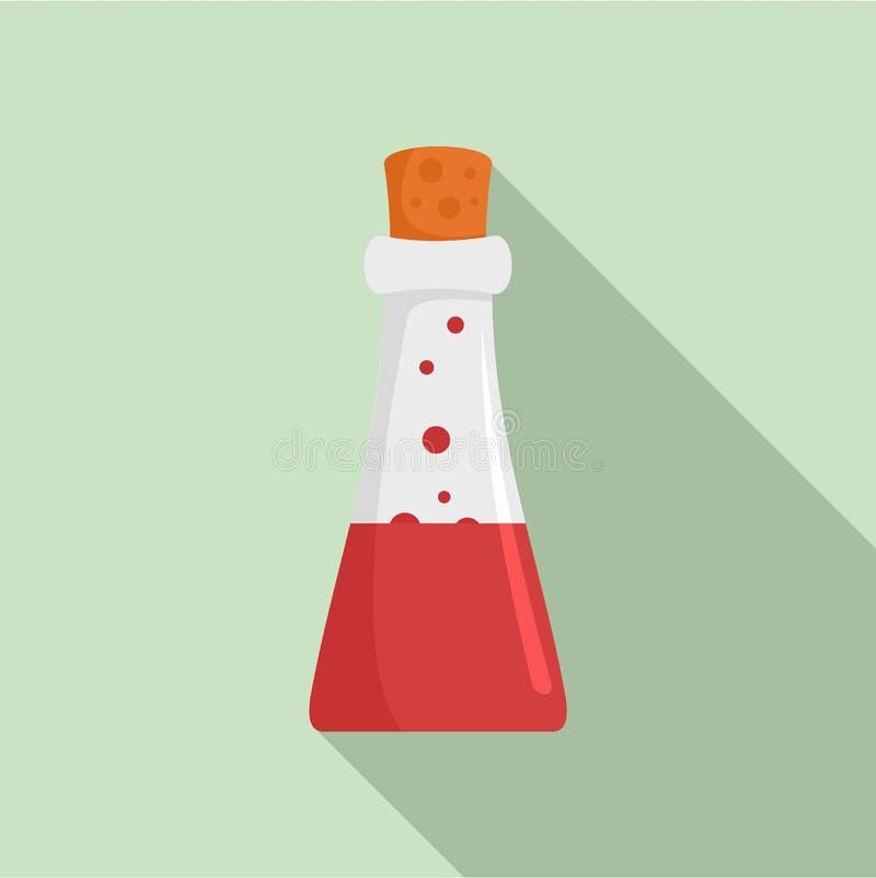Icona della boccetta della pozione di chimica, stile piano royalty illustrazione gratis
