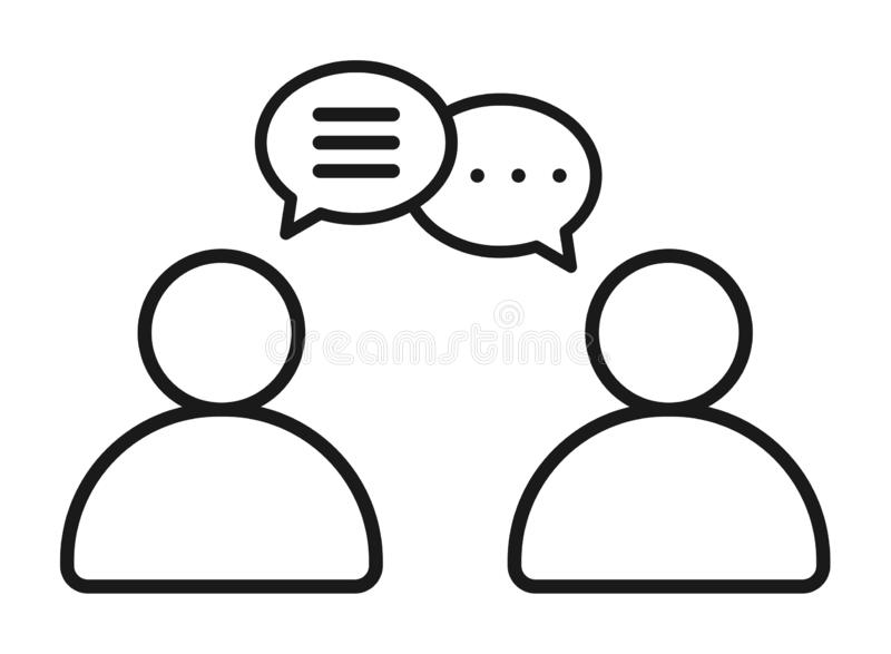 Icona della bolla di conversazione di chiacchierata del gruppo degli uomini d'affari immagine stock libera da diritti