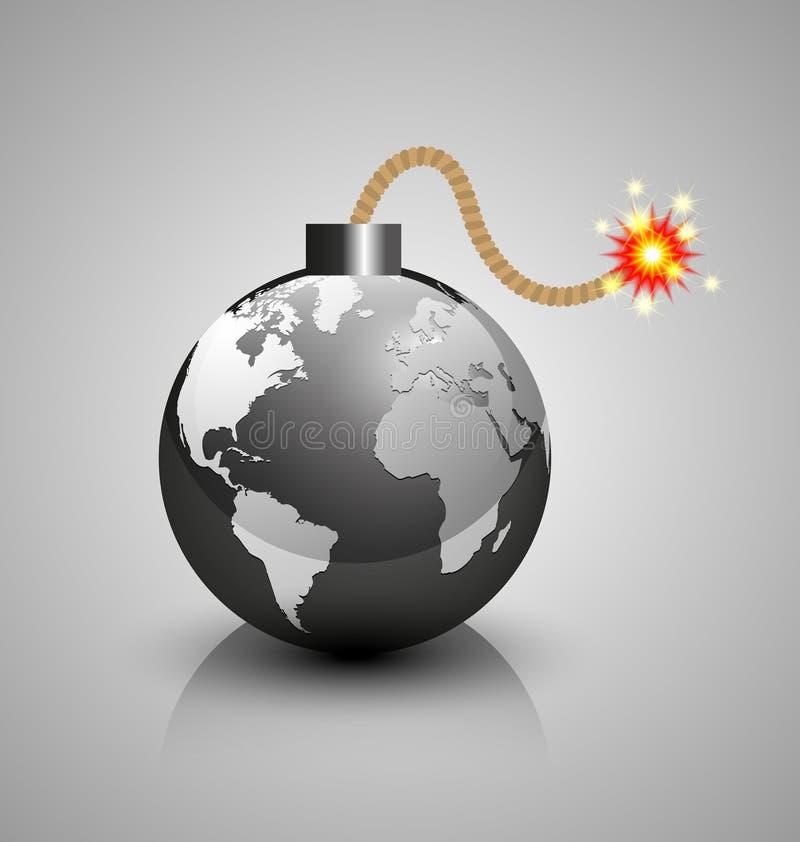 Icona della bomba di crisi di mondo illustrazione di stock