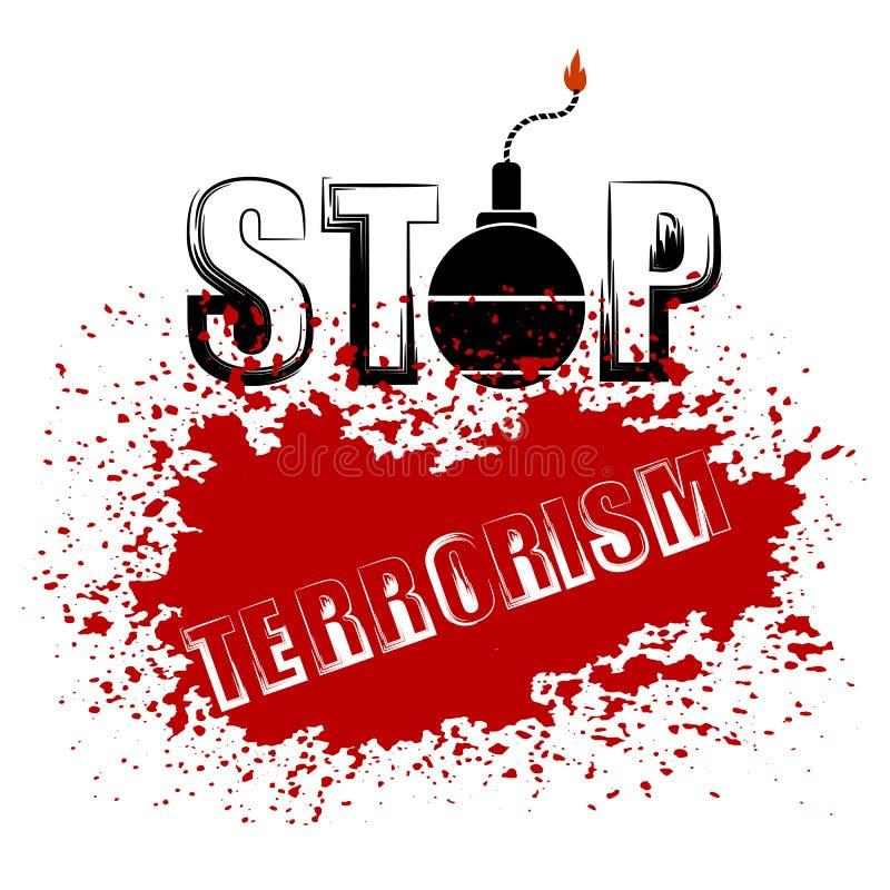 Icona della bomba Fermi l'insegna del terrorismo illustrazione di stock
