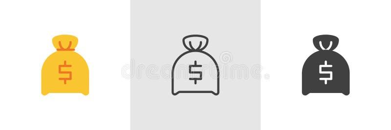 Icona della borsa dei soldi del dollaro illustrazione vettoriale