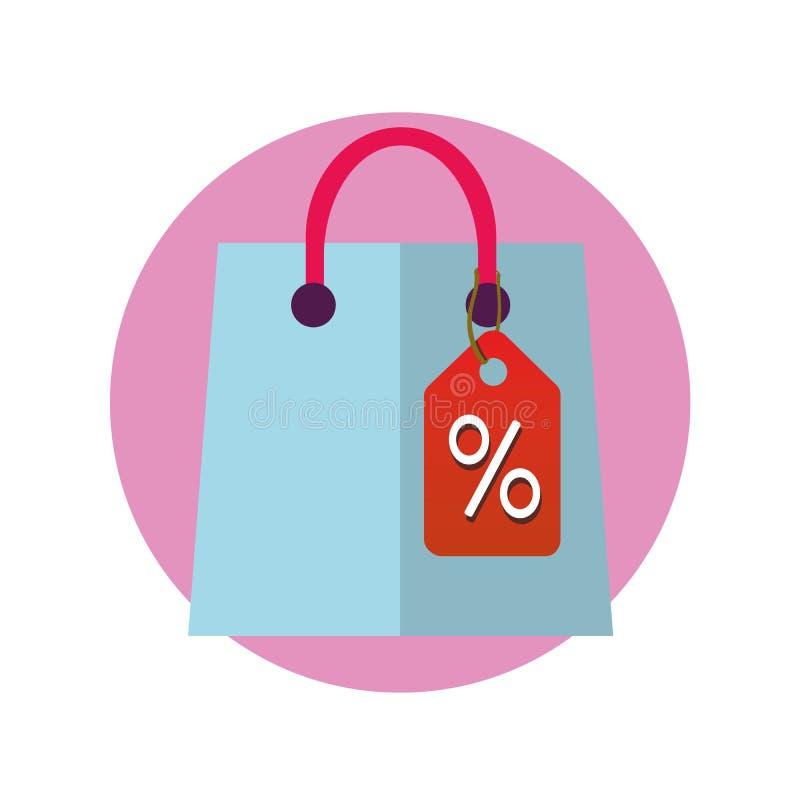 Icona della borsa del negozio Pittogramma di compera del pacchetto Simbolo di vendita Segno del pacchetto del regalo Autoadesivo  illustrazione di stock