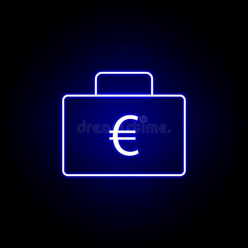 icona della borsa dell'ufficio euro nello stile al neon Elemento dell'illustrazione di finanza I segni e l'icona di simboli posso illustrazione di stock