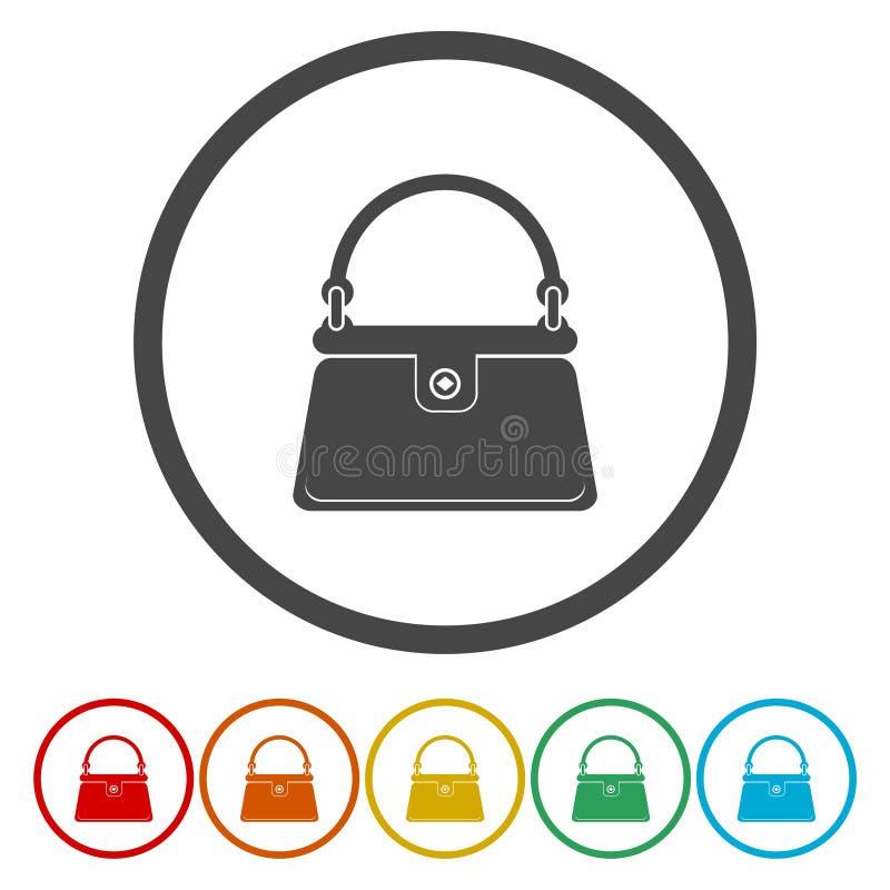 Icona della borsa delle signore Segno accessorio delle donne di eleganza illustrazione di stock