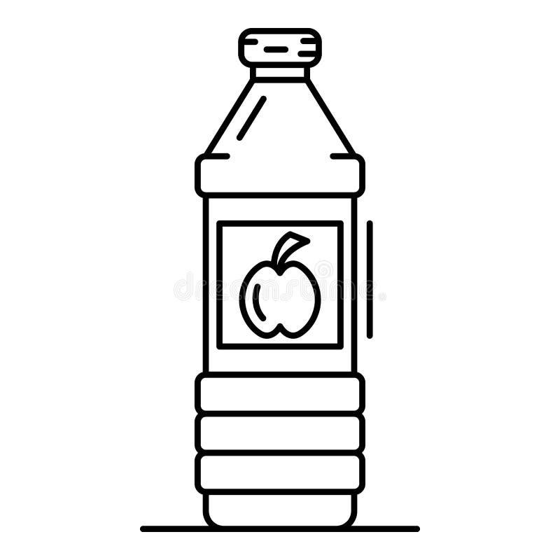 Icona della bottiglia dell'all'aceto di Apple, stile del profilo illustrazione vettoriale