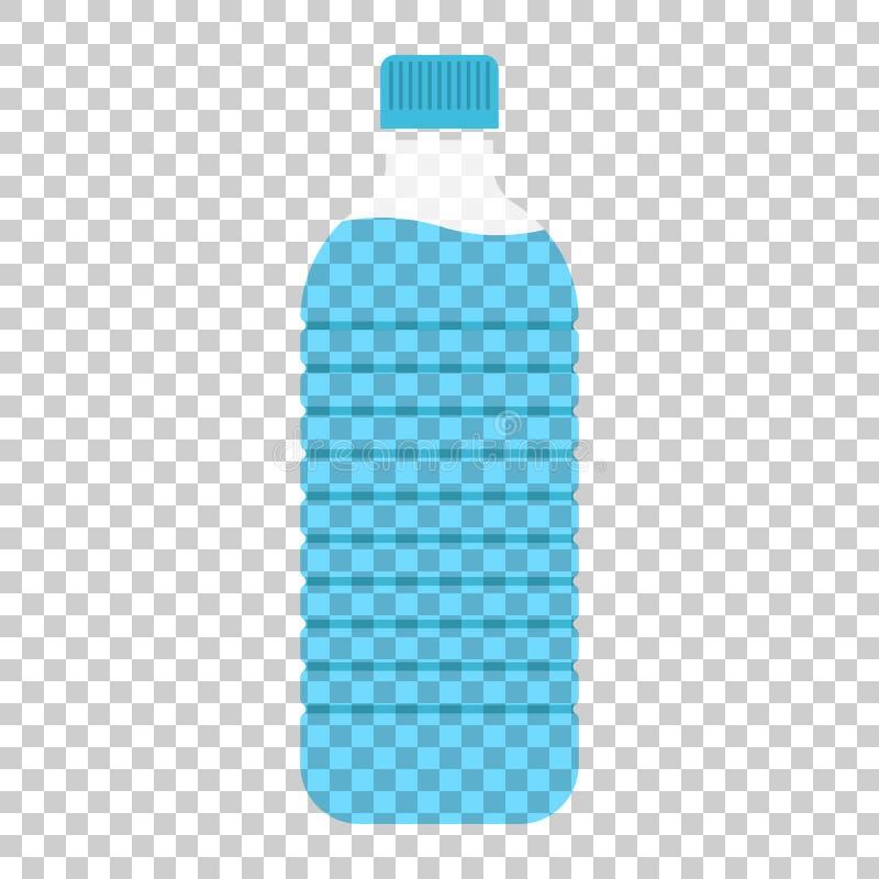 Icona della bottiglia di acqua nello stile piano Illu di plastica di vettore della bottiglia di soda illustrazione di stock