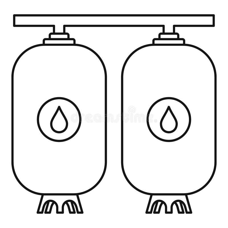 Icona della bottiglia di acqua della riserva, stile del profilo illustrazione vettoriale